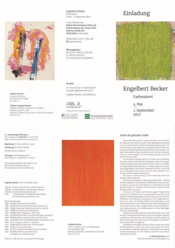 Einladung zur Ausstellung Engel Becker Farbmalerei 04.05.-01.09.2017