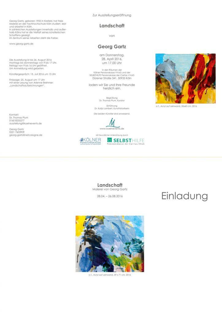 """Einladung zur Ausstellung Georg Gartz """"Landschaft"""" 28.04.-26.08.2016"""