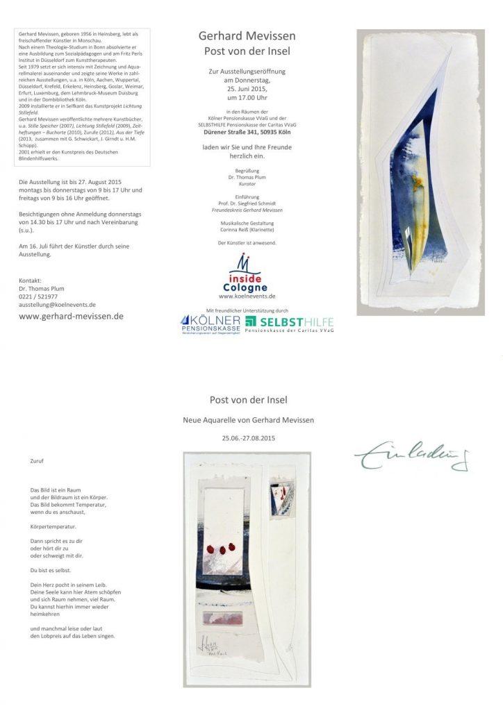 """Einladung zur Ausstellung Gerhard Mevissen """"Post von der Insel"""" 25.06.-27.08.2015"""