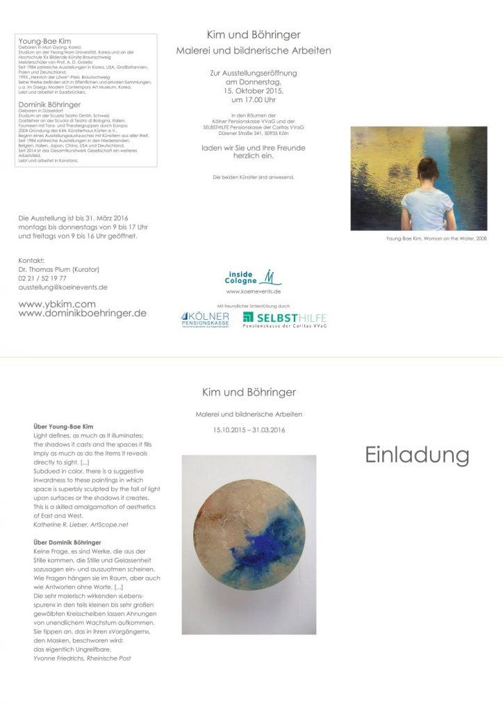 Einladung zur Ausstellung Kim und Böhringer Malerei und bildnerische Arbeiten 15.10.2015-31.03.2016
