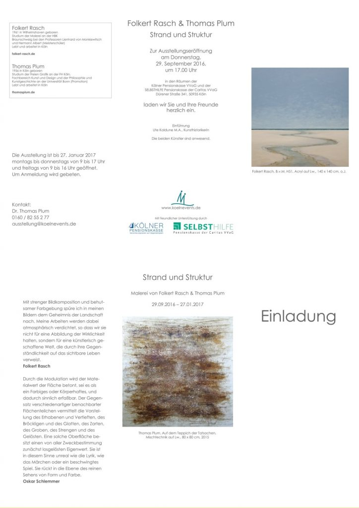 """Folkert Rasch und Thomas Plum """"Strand und Struktur"""" 29.09.2016-21.01.2017"""