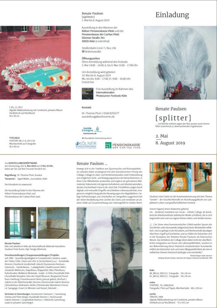 """Einladung zur Ausstellung Renate Paulsen """"[splitter]"""" 02.05.-08.08.2019"""