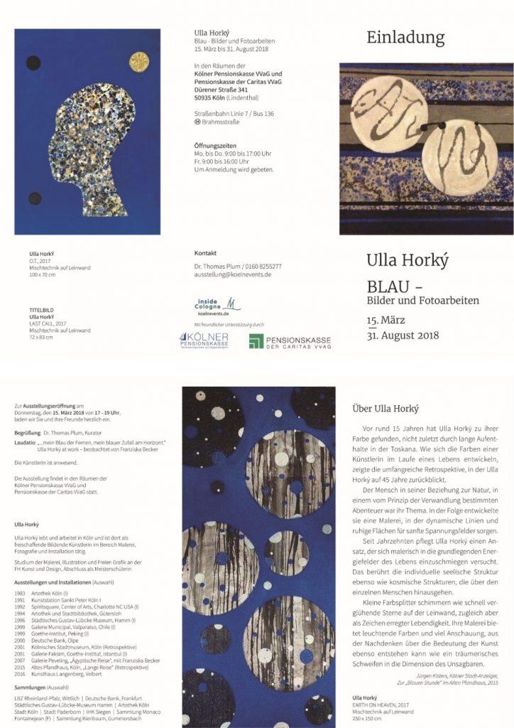 Einladung Ulla Horky BLAU - Bilder und Fotoarbeiten 15.03.-31.08.2018