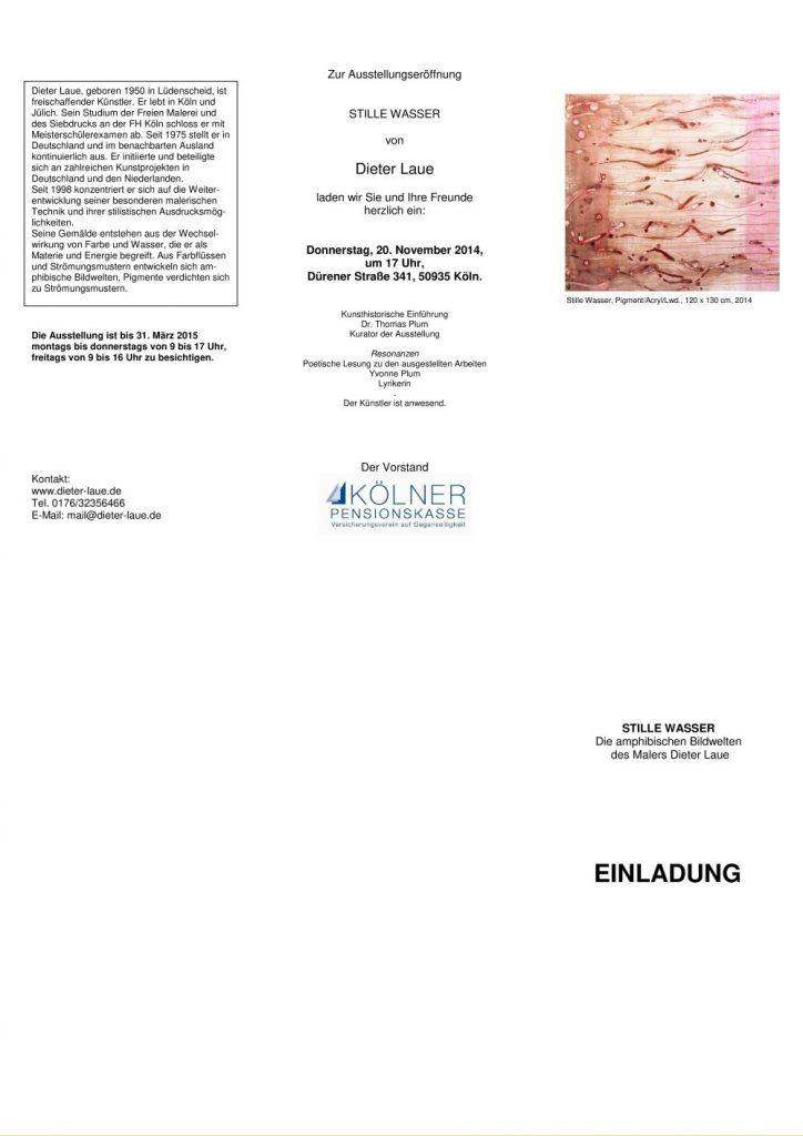 """Einladung zur Ausstellung Dieter Laue """"STILLE WASSER - Amphubische Bildwelten"""" 20.11.2014-31.03.2015"""