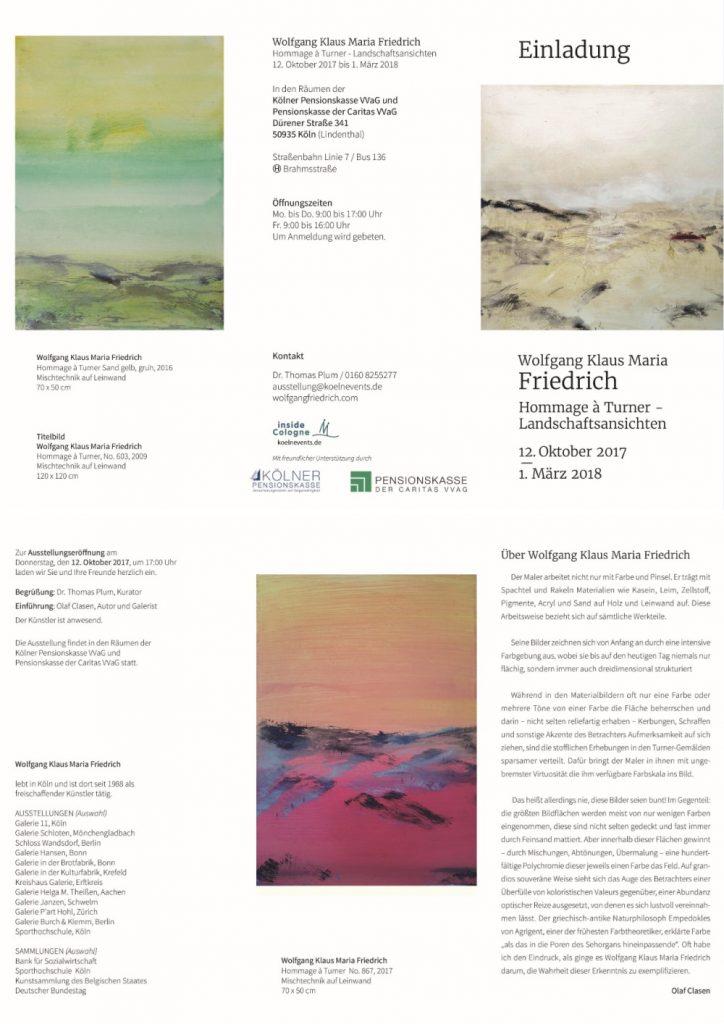 """Einladung zur Ausstellung Wolfgang Klaus Maria Friedrich """"Hommage à Turner - Landschaftsansichten"""" 12.10.2017-01.03.2018"""