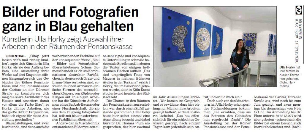 Artikel in der Kölnischen Rundschau zur Ausstellung Ulla Horký Blau - Bilder und Fotoarbeiten 15. 03.-31.08.2018