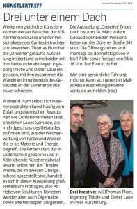 Artikel in der Kölnischen Rundschau zur Ausstellung Dreierlei Dieter Laue Thomas Plum Ingeborg Thistle 22.11.2018-14.03.2019 in der Kölner Pensionskasse