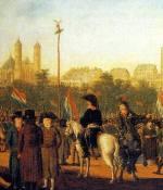 Francois Rousseau (um 1717 - 1804): Die Errichtung des Freiheitsbaumes auf dem Kölner Neumarkt am 9. Oktober 1794  (Ausschnitt) (c) Kölnisches Stadtmuseum  - Verwendung mit freundlicher Genehmigung des Kölnischen Stadtmuseums