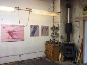 Im Atelier es Kölner Malers und Grafikers Dieter Laue